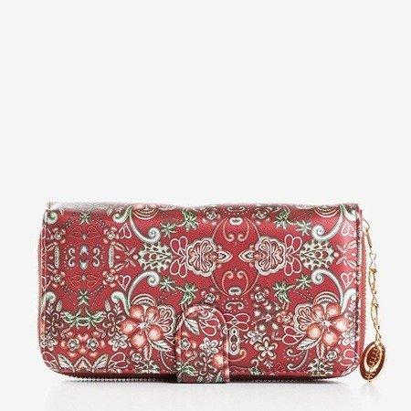 Большой женский кошелек с рисунком бордового цвета - Кошелек