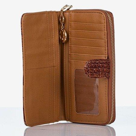 Большой коричневый кошелек из искусственной кожи со стеганой отделкой - Кошелек