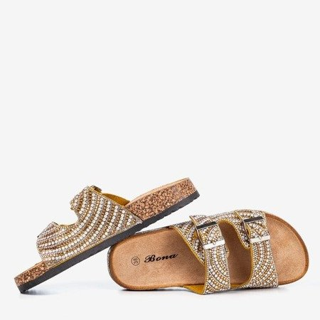 Желто-золотые тапочки с цирконами Summer Star - Обувь
