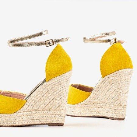 Желтые эспадрильи на высокой танкетке Sablac - Обувь