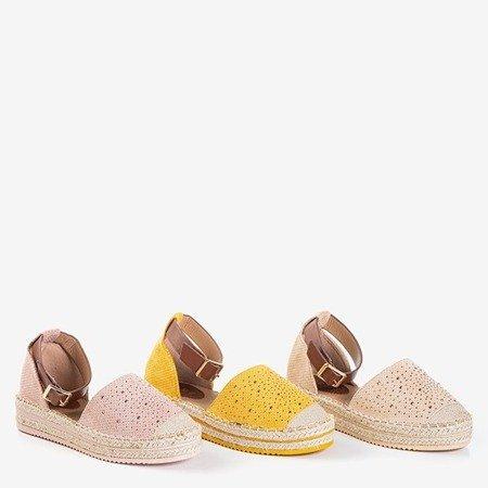 Женские ажурные эспадрильи бежевого цвета на платформе Hemmi - Обувь