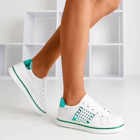 Женские белые кроссовки с зеленой отделкой Celovi - Обувь