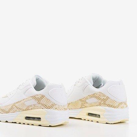 Женские белые спортивные туфли со вставками из бежевой змеиной кожи Silada - Обувь