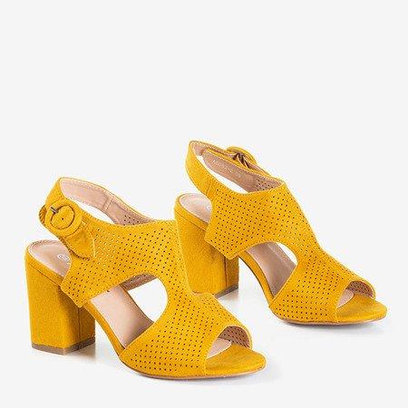 Женские горчичные ажурные сандалии на столбе Cytuss- Обувь