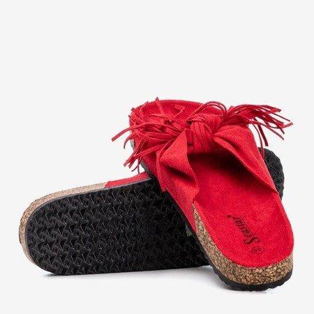 Женские красные тапочки с бахромой Amassa - Обувь