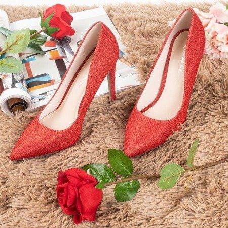 Женские красные туфли на каблуке с блестками Nissa - Обувь