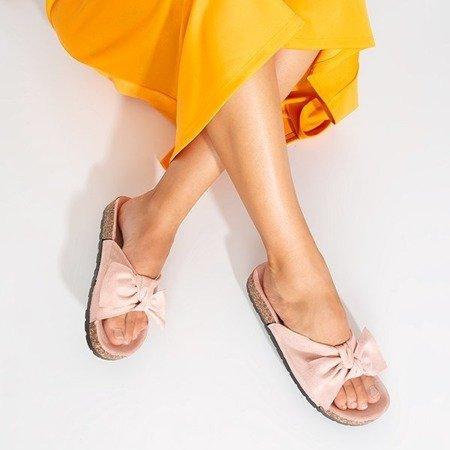 Женские пудровые тапочки с бантом Sun and Fun - Обувь