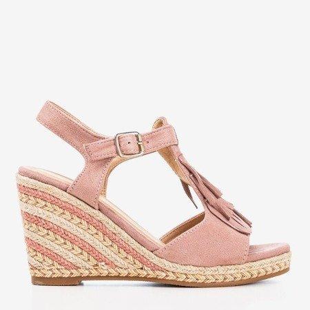 Женские розовые сандалии с бахромой Odina - Обувь