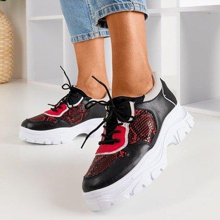 Женские черные кроссовки a'la из змеиной кожи Annadale - Обувь