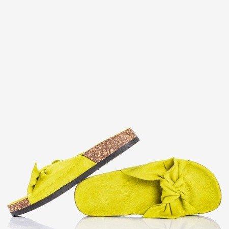 Зеленые женские тапочки с бантом «Солнце и веселье» - Обувь