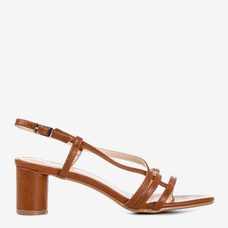 Коричневые женские сандалии на низкой стойке Marina - Обувь