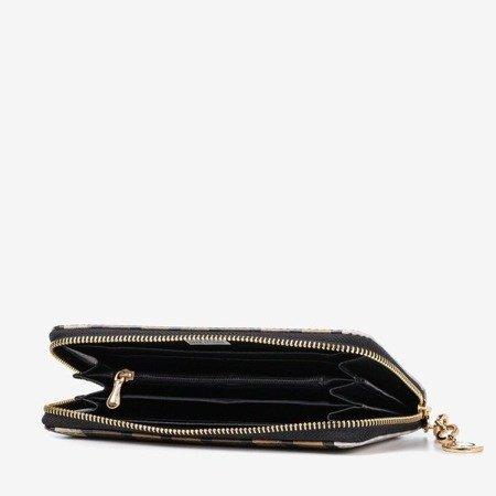 Коричневый лакированный женский кошелек с принтом - Кошелек