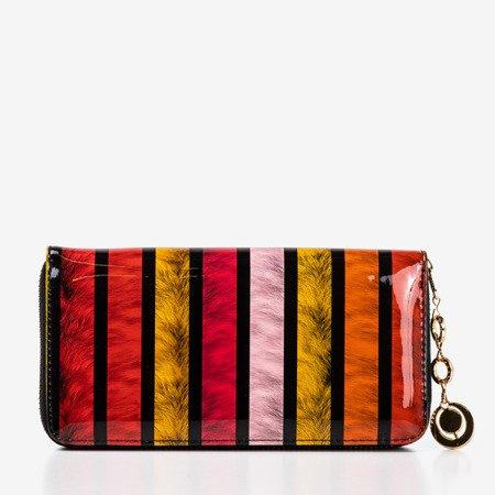 Разноцветный лакированный женский кошелек с принтом - Кошелек