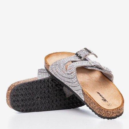 Серые тапочки с фианитом Summer Star - Обувь