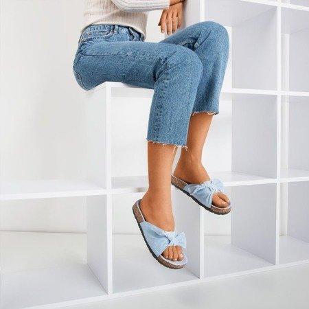Синие женские тапочки с бантом «Солнце и веселье» - Обувь