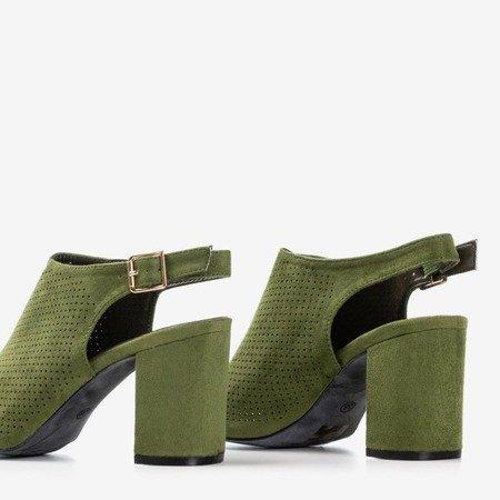 Темно-зеленые ажурные сандалии на более высокой стойке Solana - Обувь