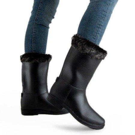 Черные матовые резиновые сапоги с мехом Гуми - Обувь