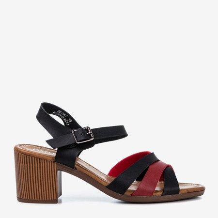 Черные сандалии на верхней стойке с разноцветными полосками Sanica - Обувь