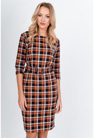 оранжевое клетчатое платье-миди - Одежда