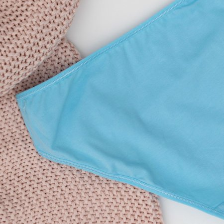 Голубые женские трусы из хлопка PLUS SIZE - Нижнее белье