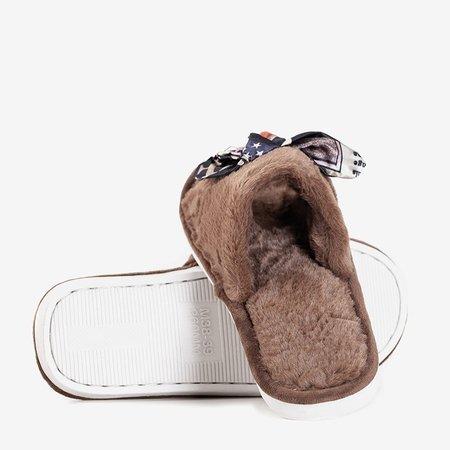 Коричневые женские тапочки с мехом Worren - Обувь