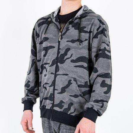 Мужская толстовка с камуфляжным принтом темно-серого цвета - Одежда