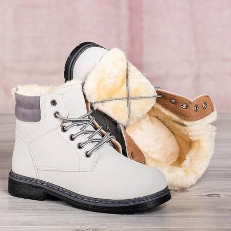 OUTLET Светло-серые сапоги Ressalie на меху - Обувь