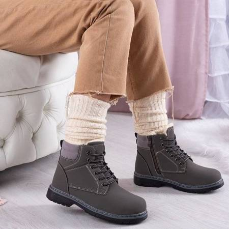 OUTLET Серые сапоги с мехом Ressalie - Обувь