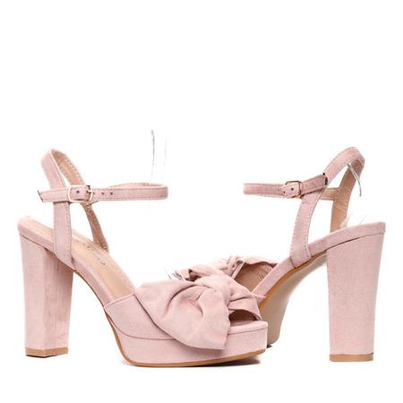 Różowe sandały na słupku Elianna- Obuwie