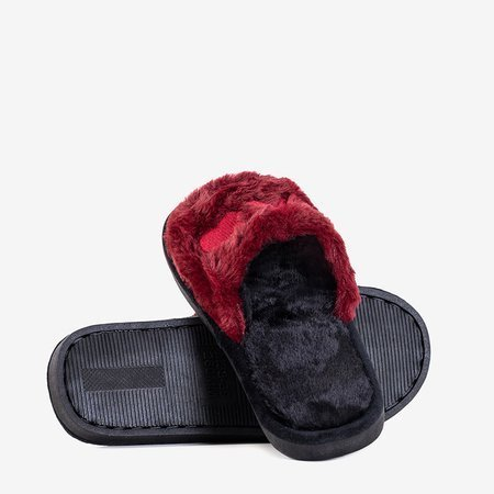 Женские бордовые тапочки с мехом Wortan - Обувь
