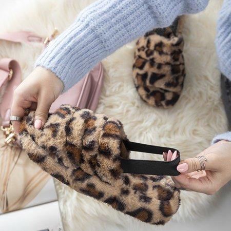 Женские меховые тапочки с леопардовым принтом Fornax - Обувь