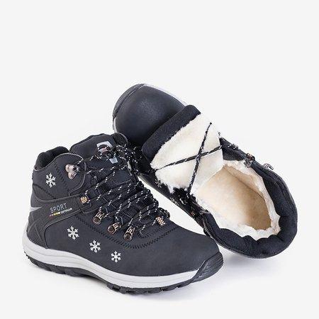 Женские утепленные зимние сапоги черного цвета с орнаментом Ализа - Обувь