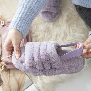 Фиолетовые женские меховые тапочки Fornax - Обувь
