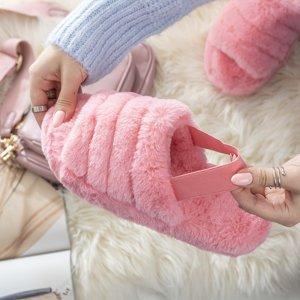 Розовые женские меховые тапочки Fornax - Обувь