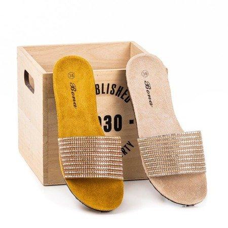 Бежеві жіночі шльопанці з кубічним цирконієм Markada - Взуття 1