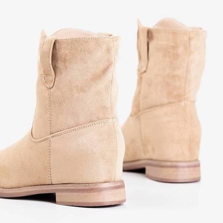 Бежеві черевики ала-ковбойські черевики на закритому танкетці Jelluma - Взуття