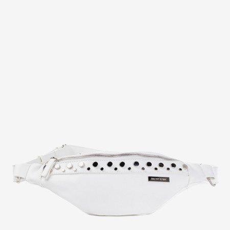 Біла маленька сумка для нирок із срібними деталями - Сумочки