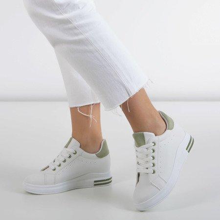 Біле спортивне взуття на внутрішньому клині із зеленими вставками Sliomena - Взуття 1