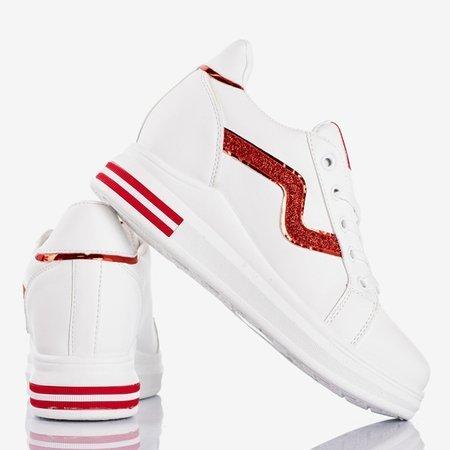 Біле спортивне взуття на закритому клині з червоним кольором Say It вставляє - Взуття 1