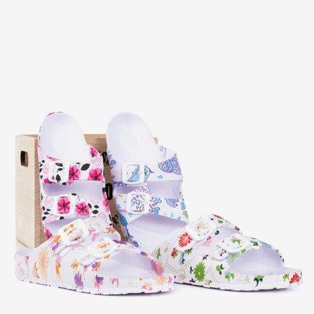 Біло - фіолетові гумові шльопанці Lito - Взуття 1