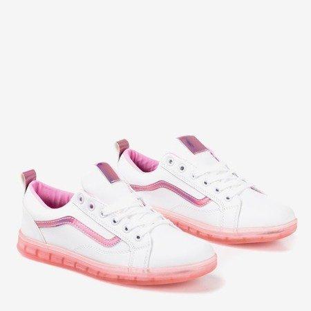 Білі жіночі кросівки з рожевою голографічною вставкою Domsca - Взуття 1