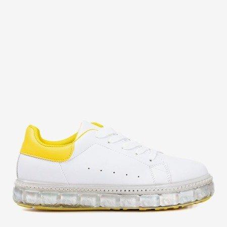 Білі та жовті кросівки на платформі з цирконіями Mauria - Взуття