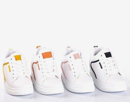 Білі та помаранчеві кросівки на внутрішньому танкетці Marcja - Взуття