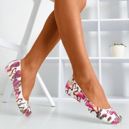 Білі флопи з принтом Copteria flamingo - Взуття 1