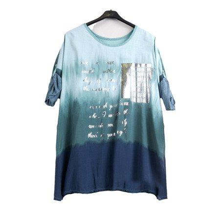 Бірюзова жіноча туніка зі срібними написами - Блуза 1