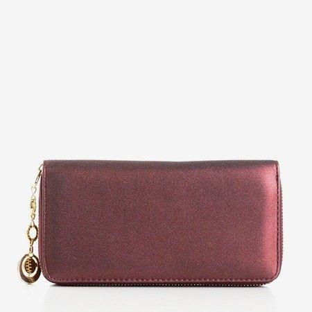 Глянцевий великий жіночий гаманець у бордовому кольорі - Гаманець