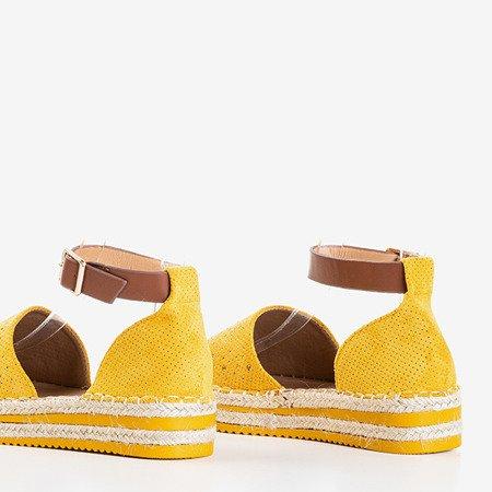 Гірчичні ажурні еспадриси на платформі Hemmi - Взуття 1