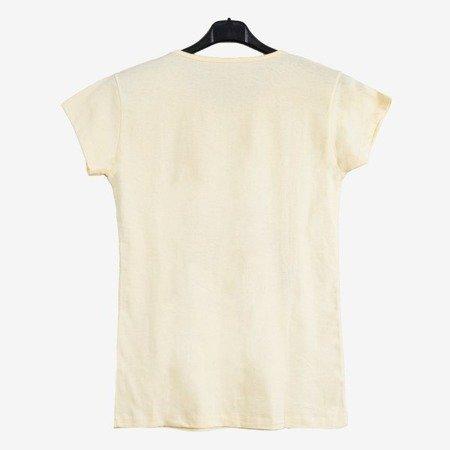 Жовта жіноча футболка, прикрашена кольоровим принтом - Блузки 1
