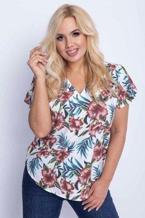 Жіноча біла квіткова блуза ПЛЮС РОЗМІР - Блузи