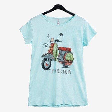 Жіноча м'ятна футболка, прикрашена різнокольоровим принтом - Блузки 1